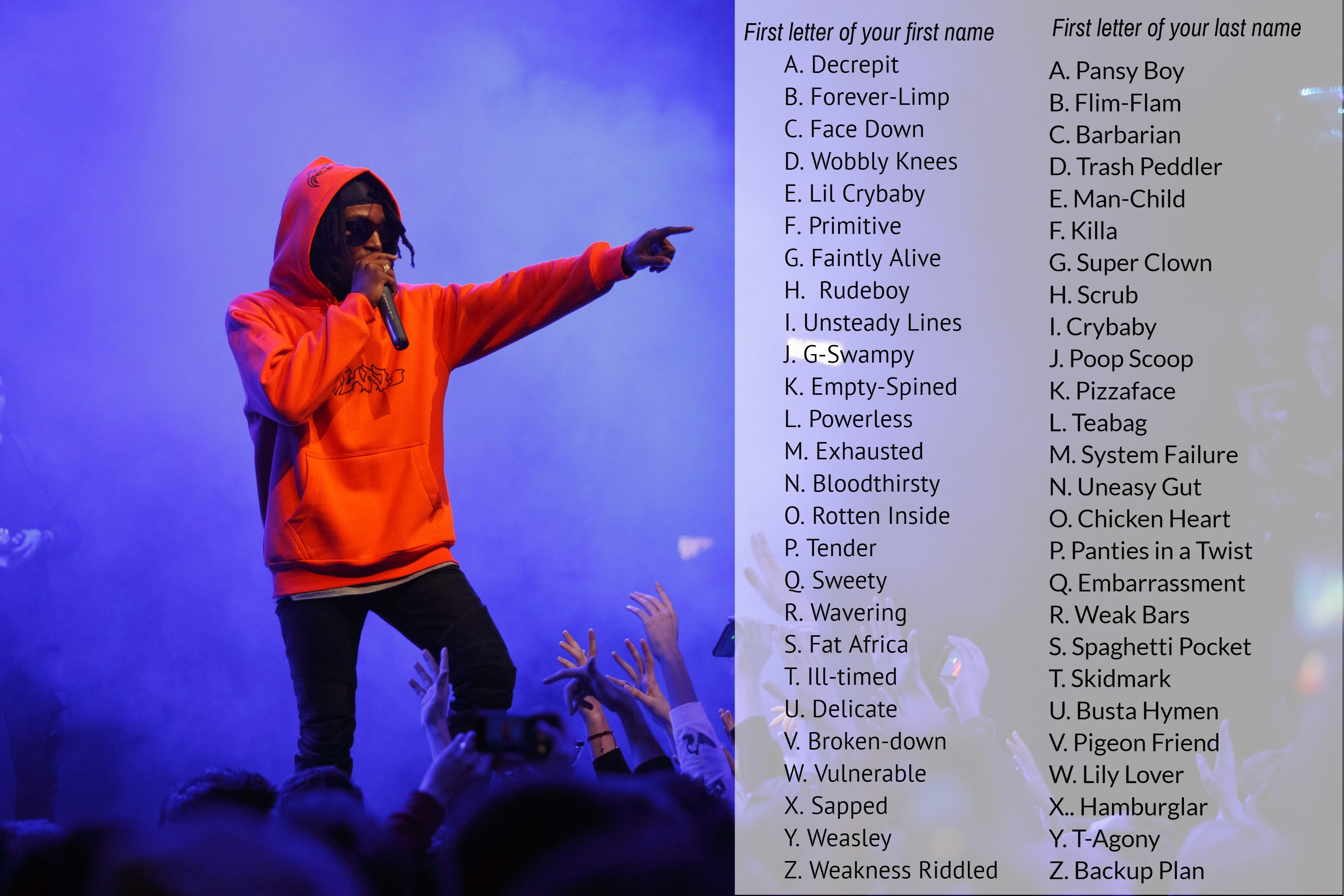 When Your Rap Game Is Weak Sauce Find Your Rapper Name To Go Along With It Names Name Games Man Child