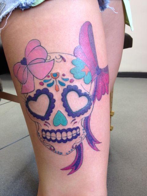 girly skull sugar skull pink bows tattoo thigh | Tattoo ...