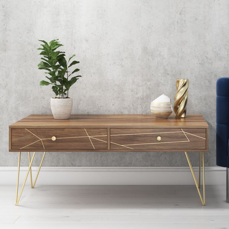 Tahlia Wood Coffee Table With Harpin Legs Storage Drawers Brass Inlay Detailing Tah002 Coffee Table Coffee Table Wood Solid Wood Coffee Table