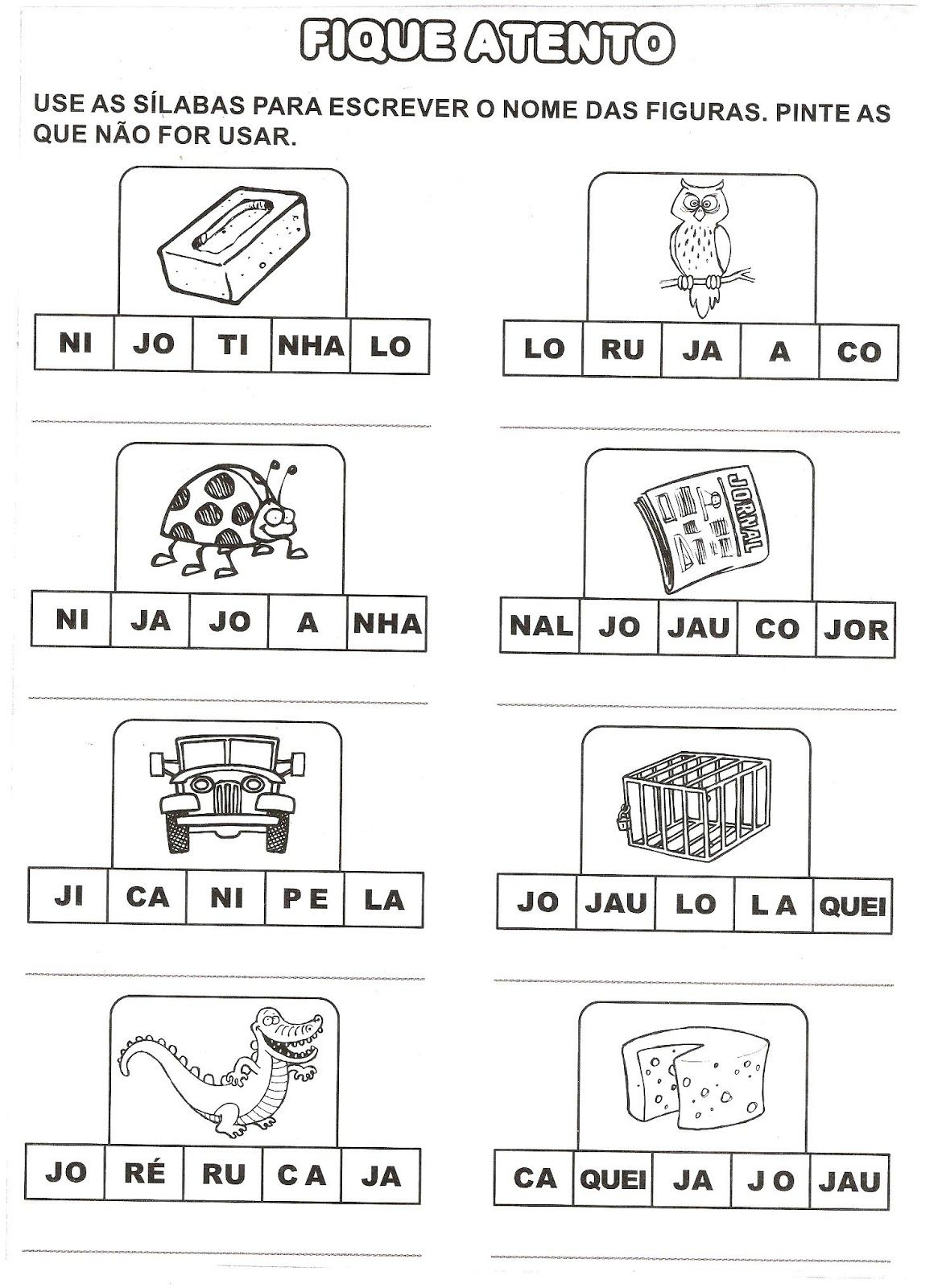 Resultado De Imagem Para Atividade Ja Je Ji Jo Ju Com Imagens
