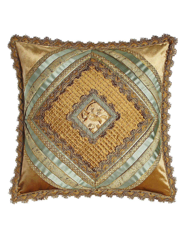 "Palazzo Como Diamond-Center Pillow, 20""Sq., Blue/Gold"