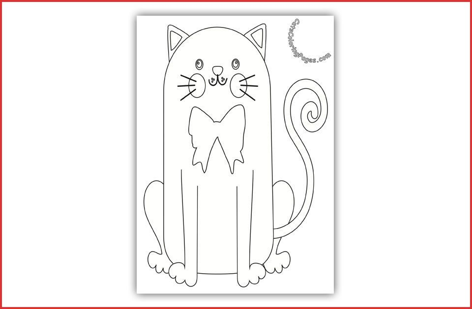 Bow Tie Colouring Bow Tie Colouring 162517 Happy Cat With Bow Tie