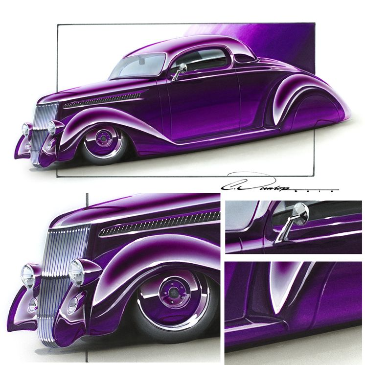Custom 36 Ford Coupe Marker Airbrush Rendering Custom Car Art
