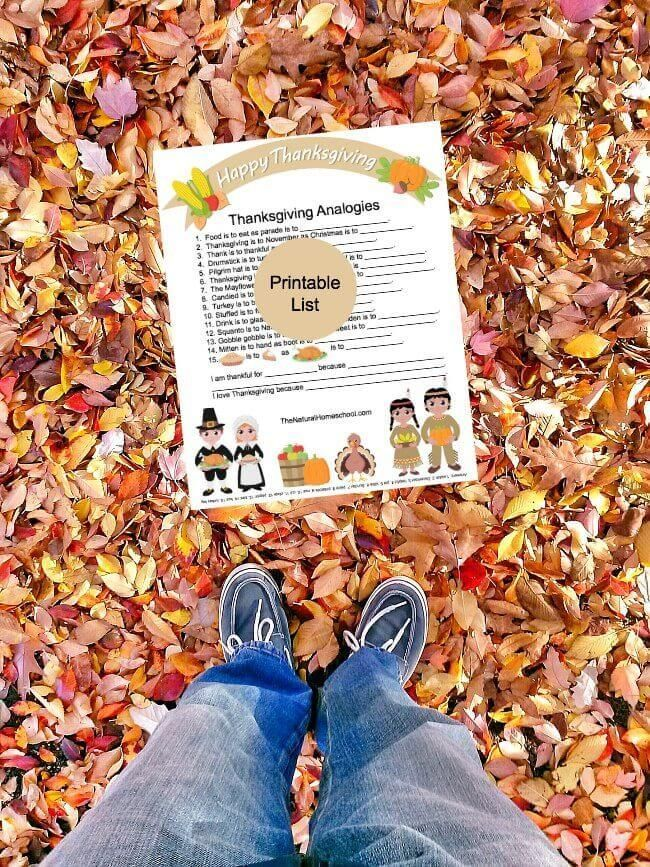 Printable Thanksgiving Analogies with Answers Logic for