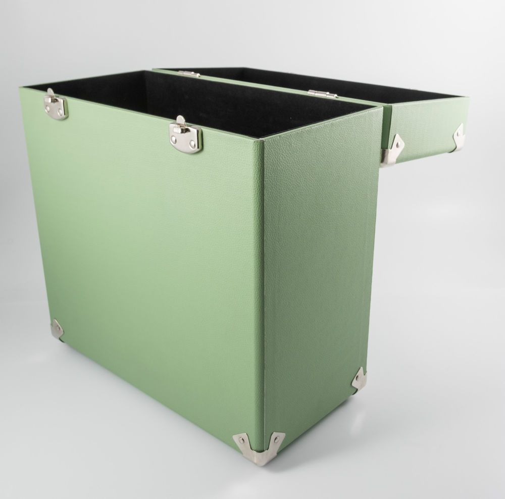 Gpo Record Storage Box Lp Album 12 Vinyl Dj Flight Carry Case Green Record Storage Box Vinyl Record Case Record Case