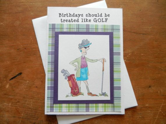 Golf handmade golf birthday greeting card w older woman golfer golf handmade golf birthday greeting card w older woman golfer golf bag old golfer birthday from the artsy acorn m4hsunfo Image collections