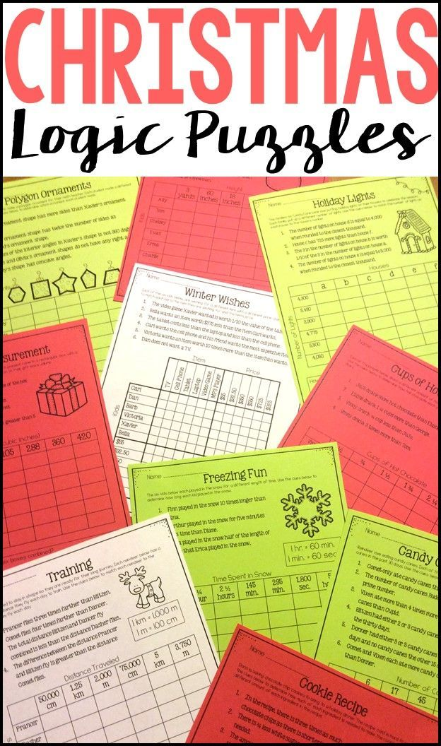 Ten Christmas And Winter Themed Logic Puzzles For Students To Practice Critical Thinking Holiday Math Worksheets Maths Activities Middle School Christmas Math