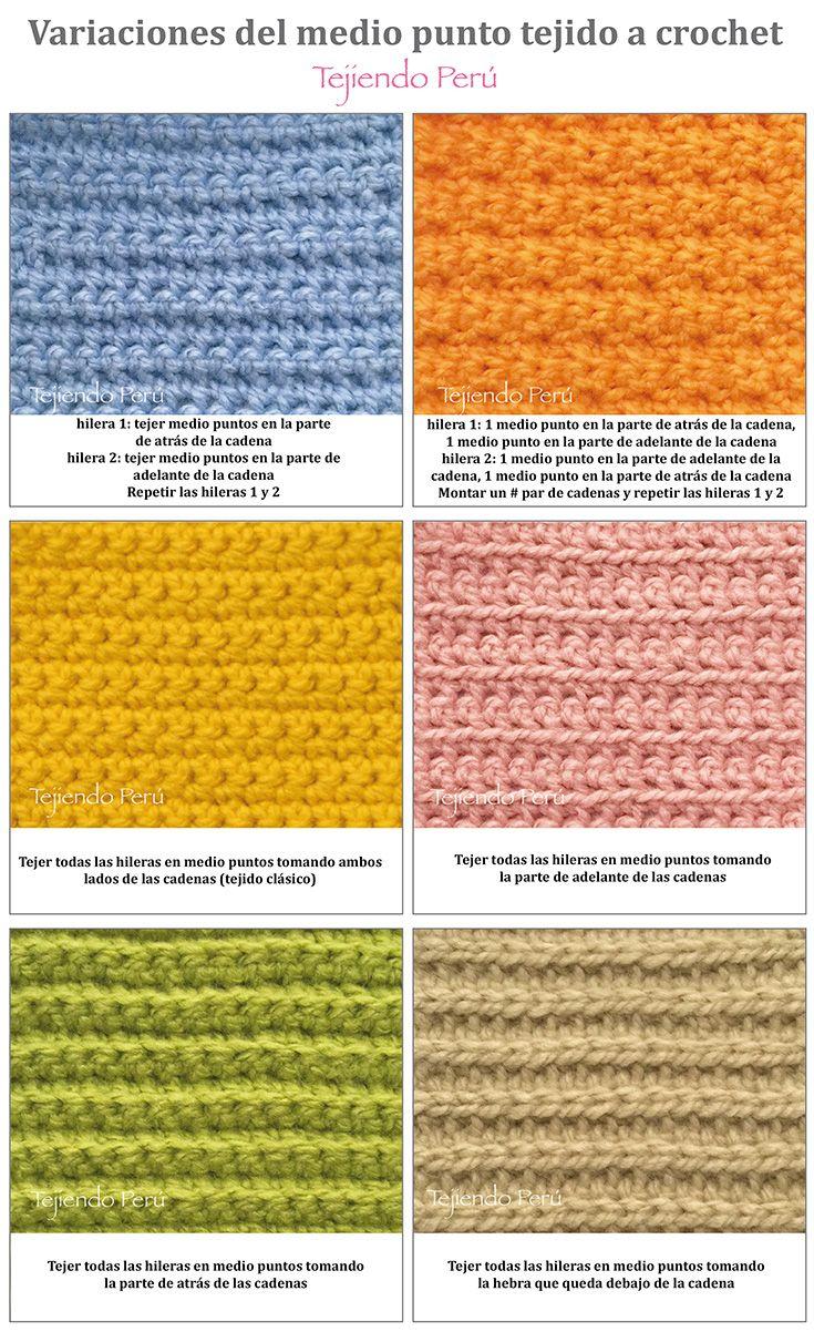 Crochet: variaciones al tejer con medio puntos! | Puntos fantasía en ...