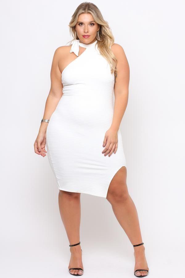 Plus Size Asymmetric Bandage Dress- Ivory   VOLUPTUOUS ...