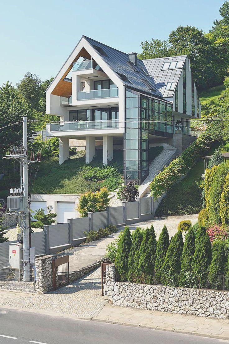 lakehouse on steep hillside