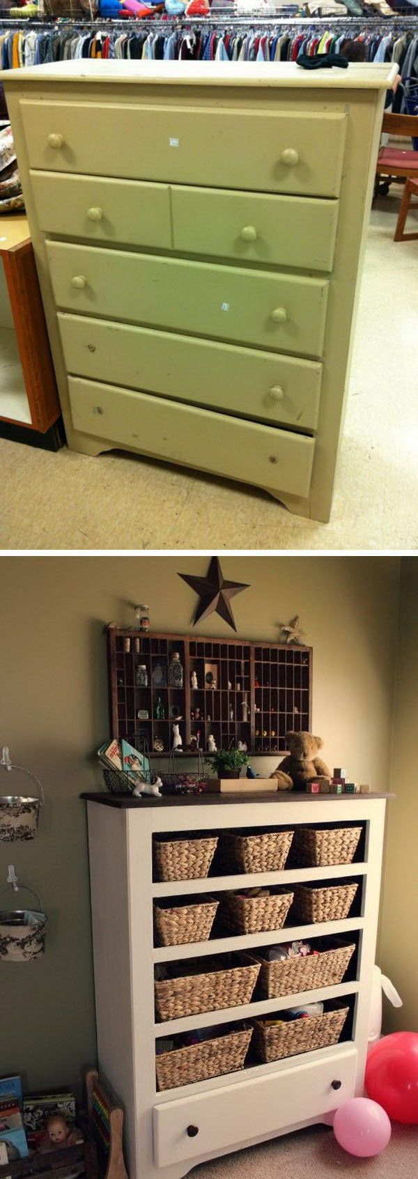 Turn a thrift store drawer into funny functional storage or