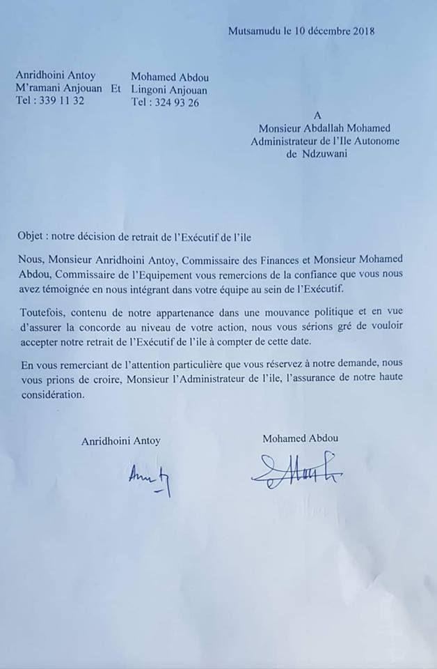 L'administrateur de l'île d'Anjouan lâché par 2 de ses commissaires