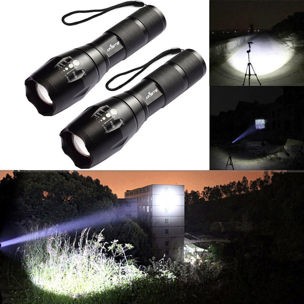 UK Tactical 50000LM T6 LED Flashlight Zoomable Torch Lamp Light 18650+Charger