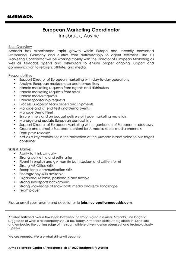 European Marketing Coordinator Marketing stuff ☆ Pinterest - marketing coordinator cover letter