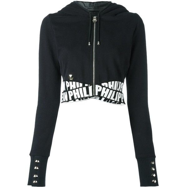 13f3d6b8fdc37 Philipp Plein cropped hoodie (€720) ❤ liked on Polyvore featuring tops