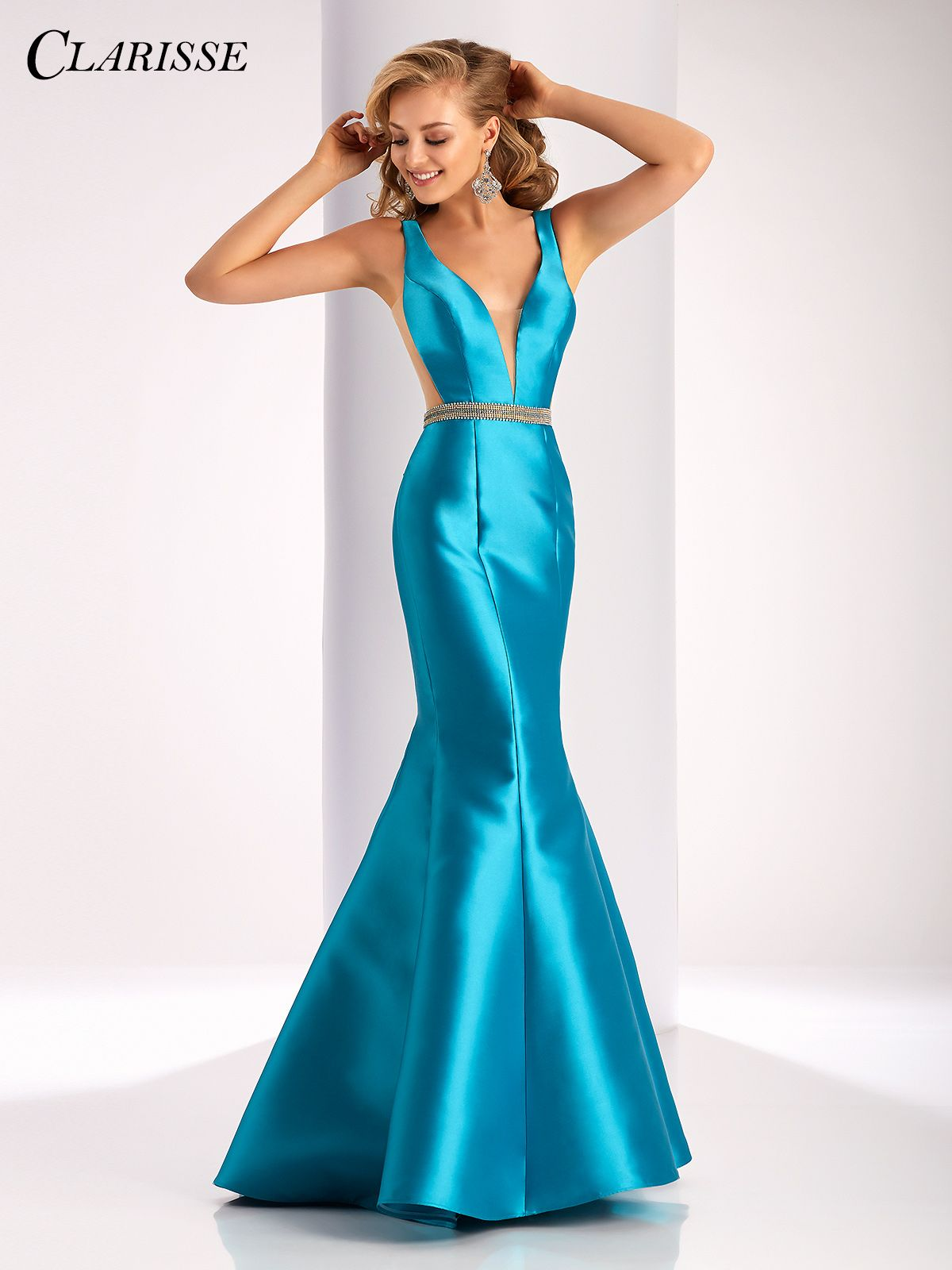 Clarisse prom dress sleeveless mikado mermaid dress with sheer