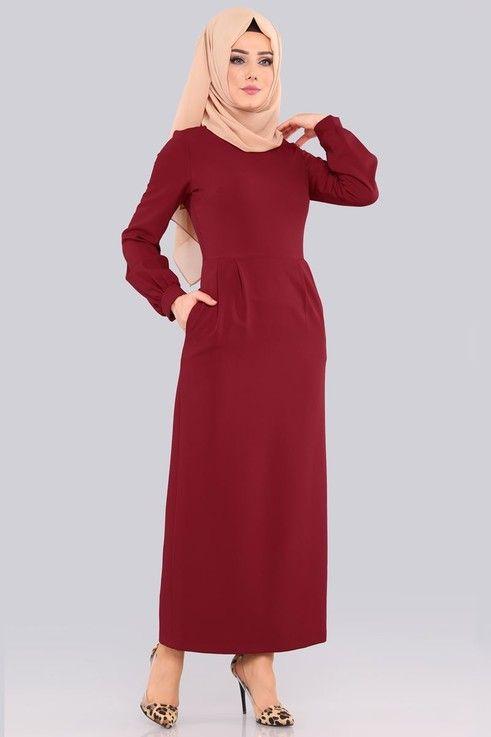 Elbise Pileli Tesettur Elbise 562 L263 Koyu Bordo Red Frock Muslim Fashion Dresses