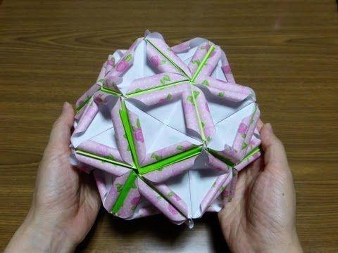 origami おりがみ くるくる巻き花びら くす玉の作り方 - YouTube