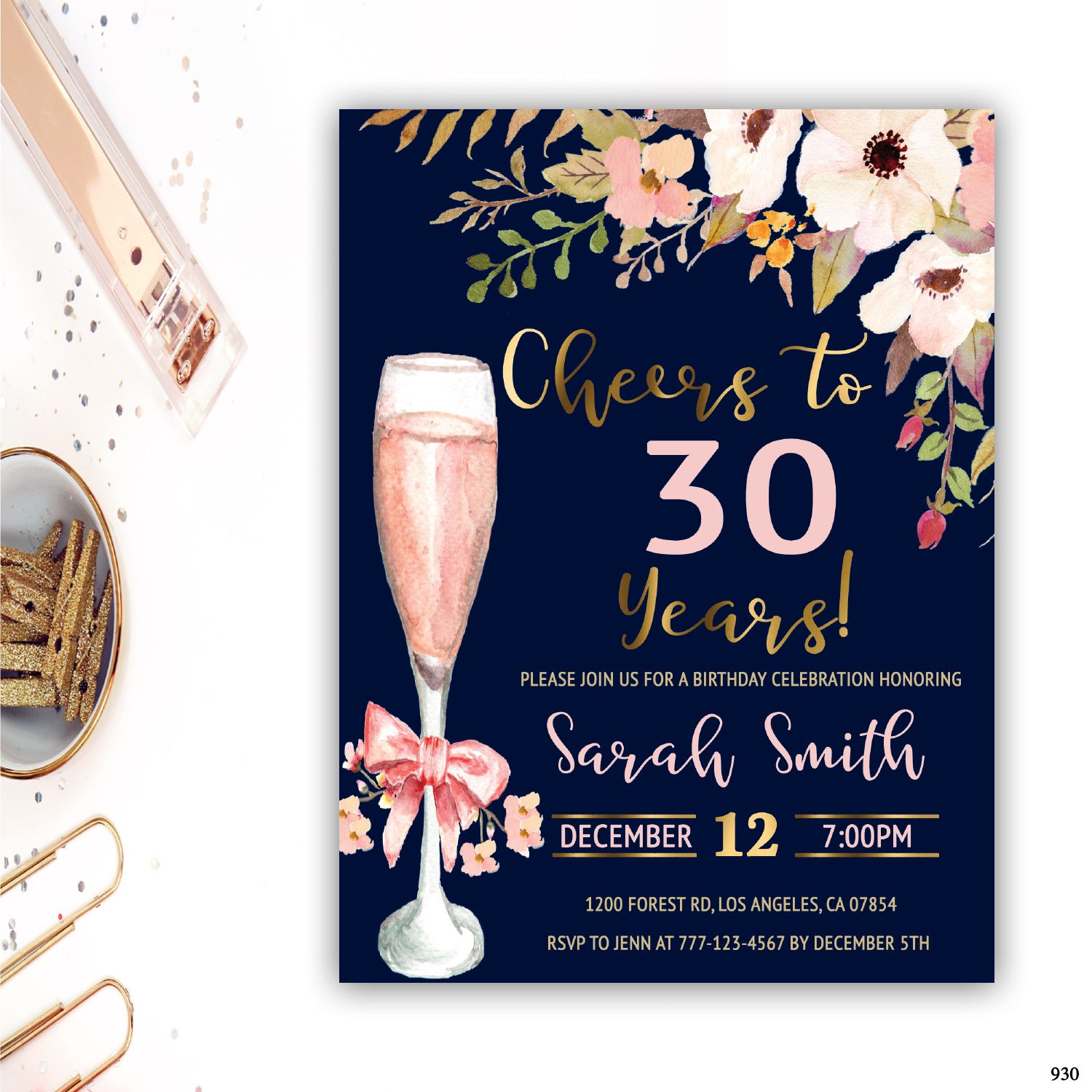 30th birthday invitation for women adult birthday invitations floral invitation cheers to 30 years