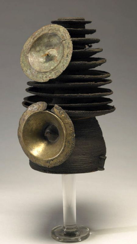 Africa | Chief's hat from the Ekonda people of DR Congo | Bast fiber, applied brass disks | Early 20th century