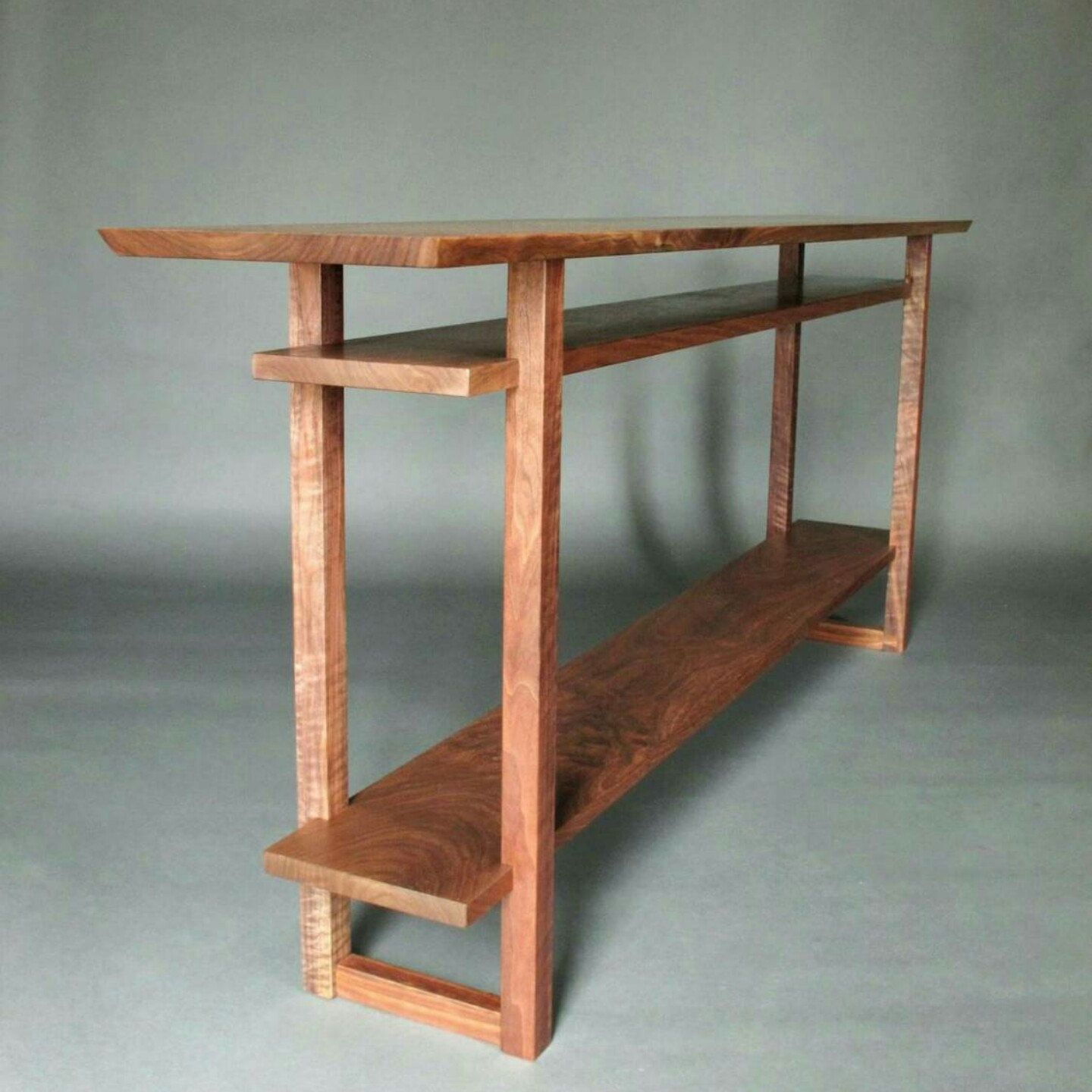 Small Narrow Wood Table With Two Shelves: Small Side Table, Narrow End Table,  For Accent Table/ Nightstand  Handmade Wood Furniture