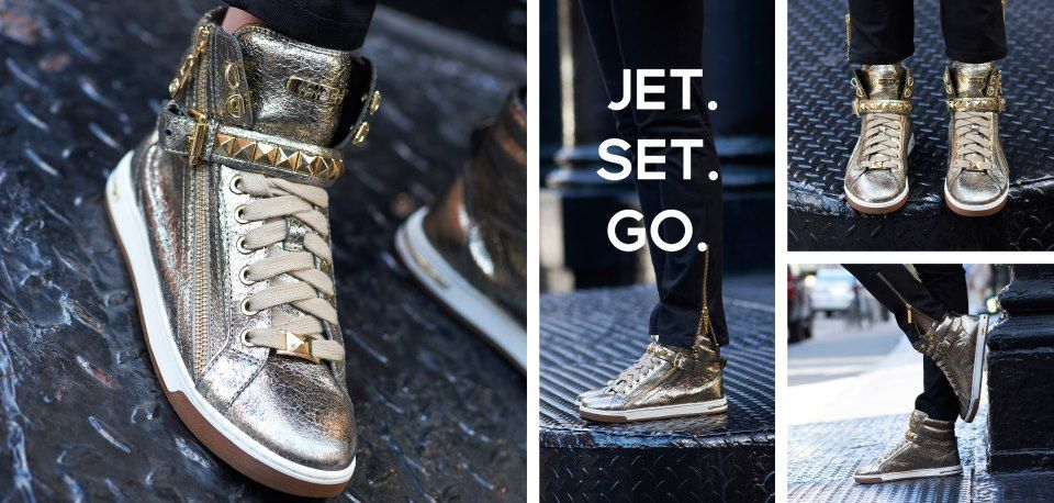 Michael Kors Sneakers—decked out with luxe textures, metallic accents and high-shine studs.