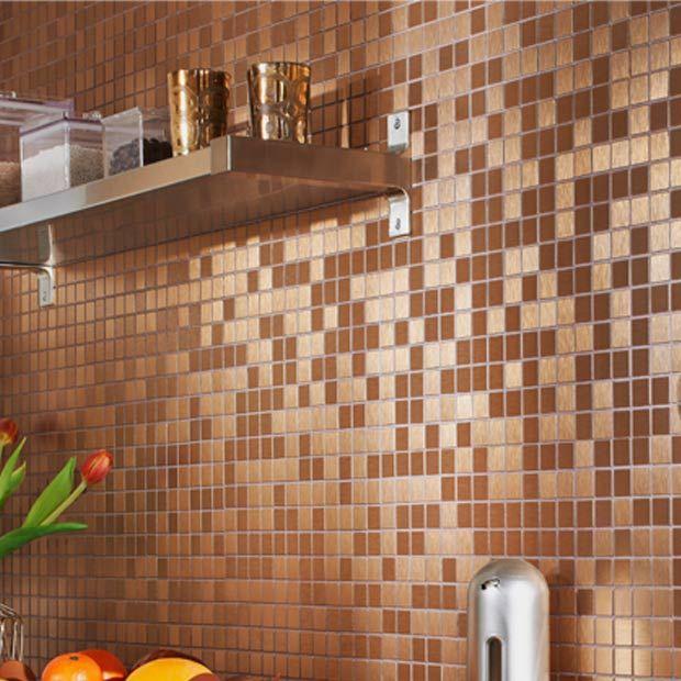 Carrelage mosaïque adhésif DECOu0027STICK aspect métal 29 x 29 cm