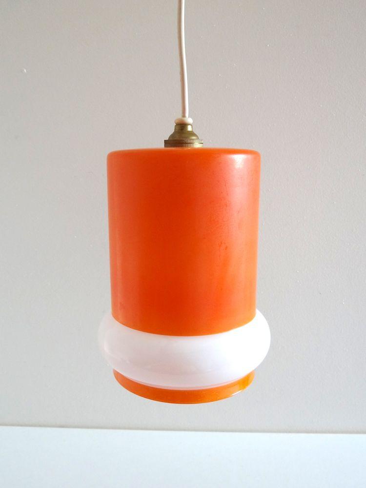 Suspension Vintage Opaline Orange Annees 70 Luminaire Vintage