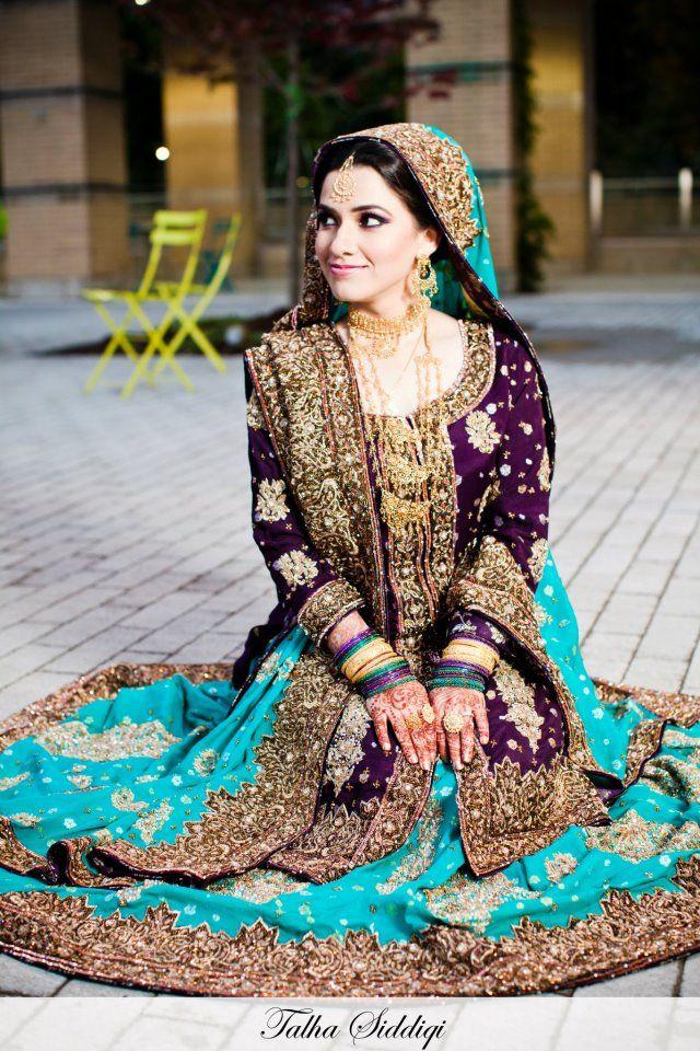 Pakistani Bride Color Combo Purple And Teal Wedding Pakistani