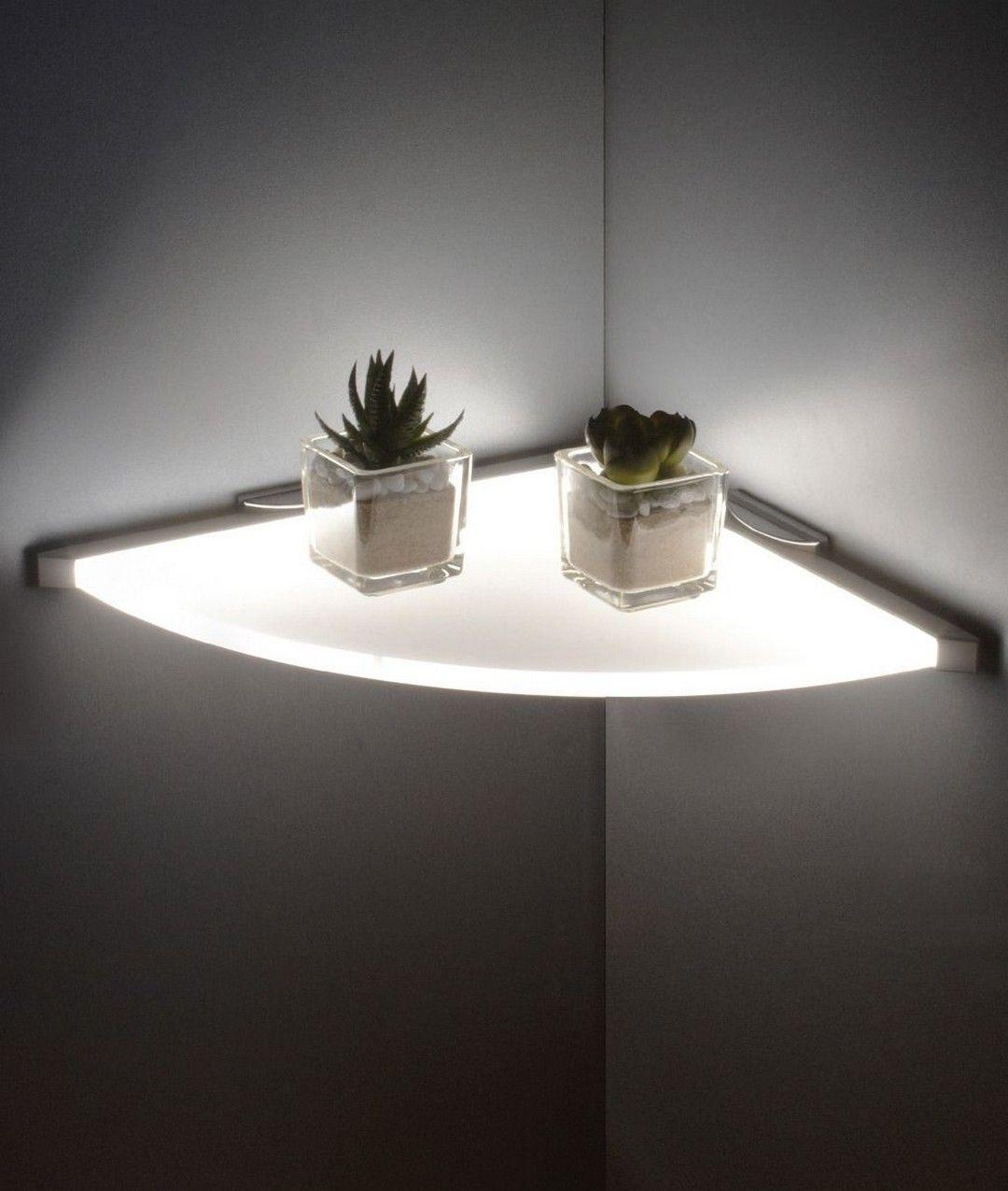 Fastastic Corner Lighting Ideas in 2020 Glass shelves