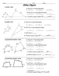 Similar Figures Practice Worksheet Angles Worksheet Math