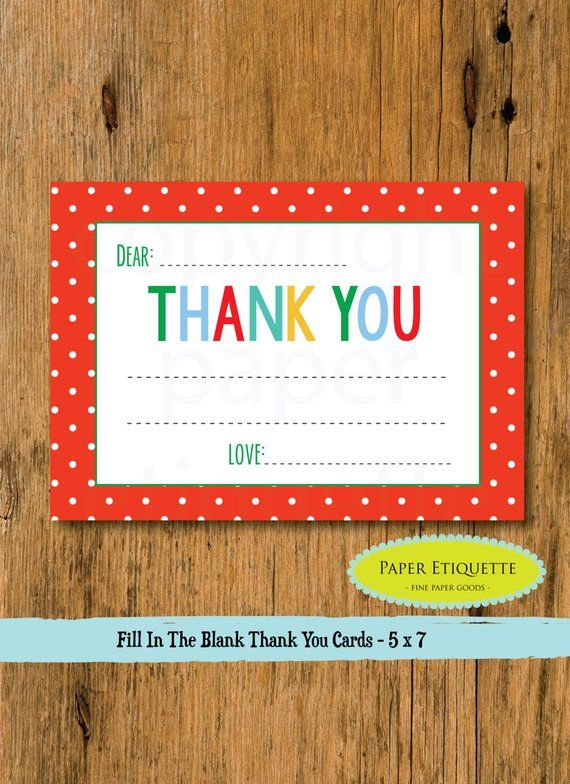 Kid\u0027s Fill In The Blank Thank You Card - Holiday Christmas Thank You