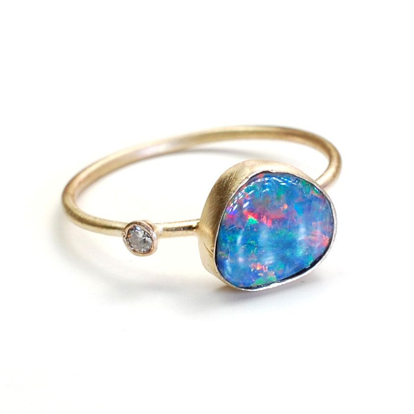 Opal Ring Opal Diamond Ring Stacking Ring Asymmetrical by NIXIN, $415.00