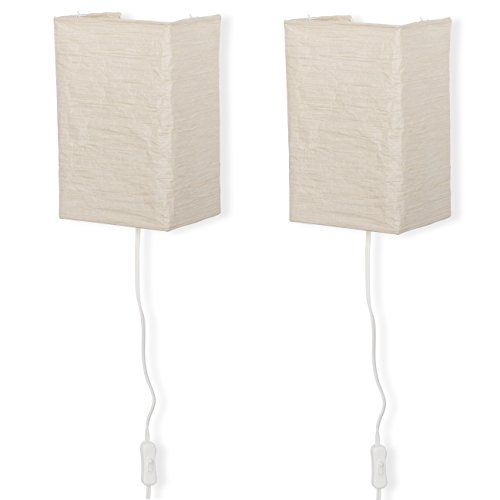 Rice Paper Wall Mount Lamp Sconce With Toggle Switch Led Light Bulbs Included Set Of 2 Cream