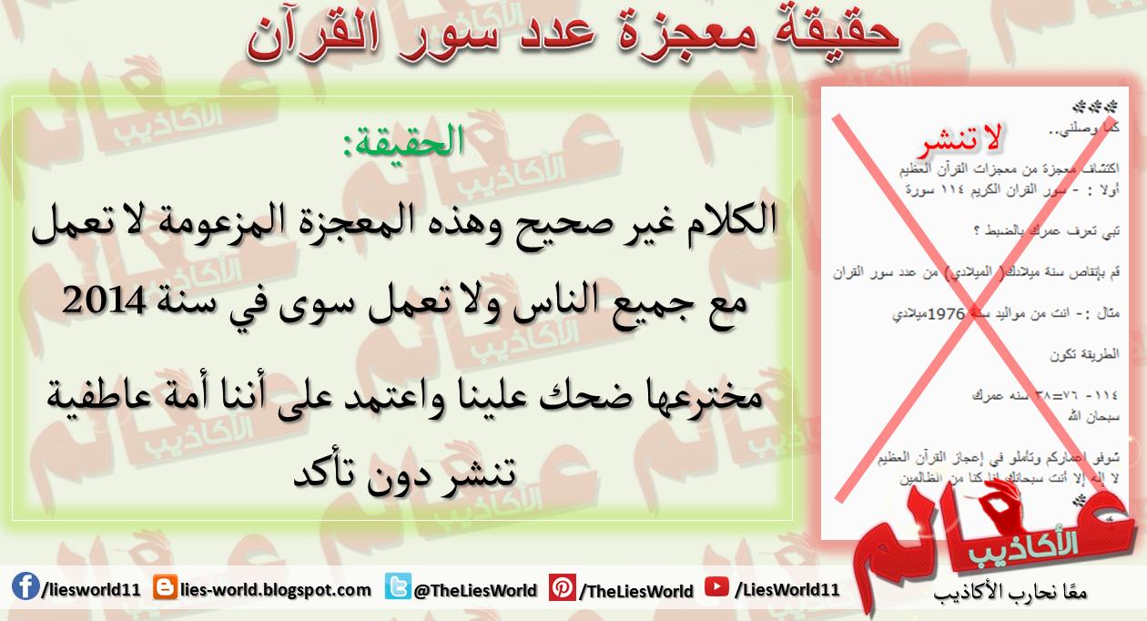 حقيقة معجزة عدد سور القرآن عالم الأكاذيب Blog Posts Map Blog