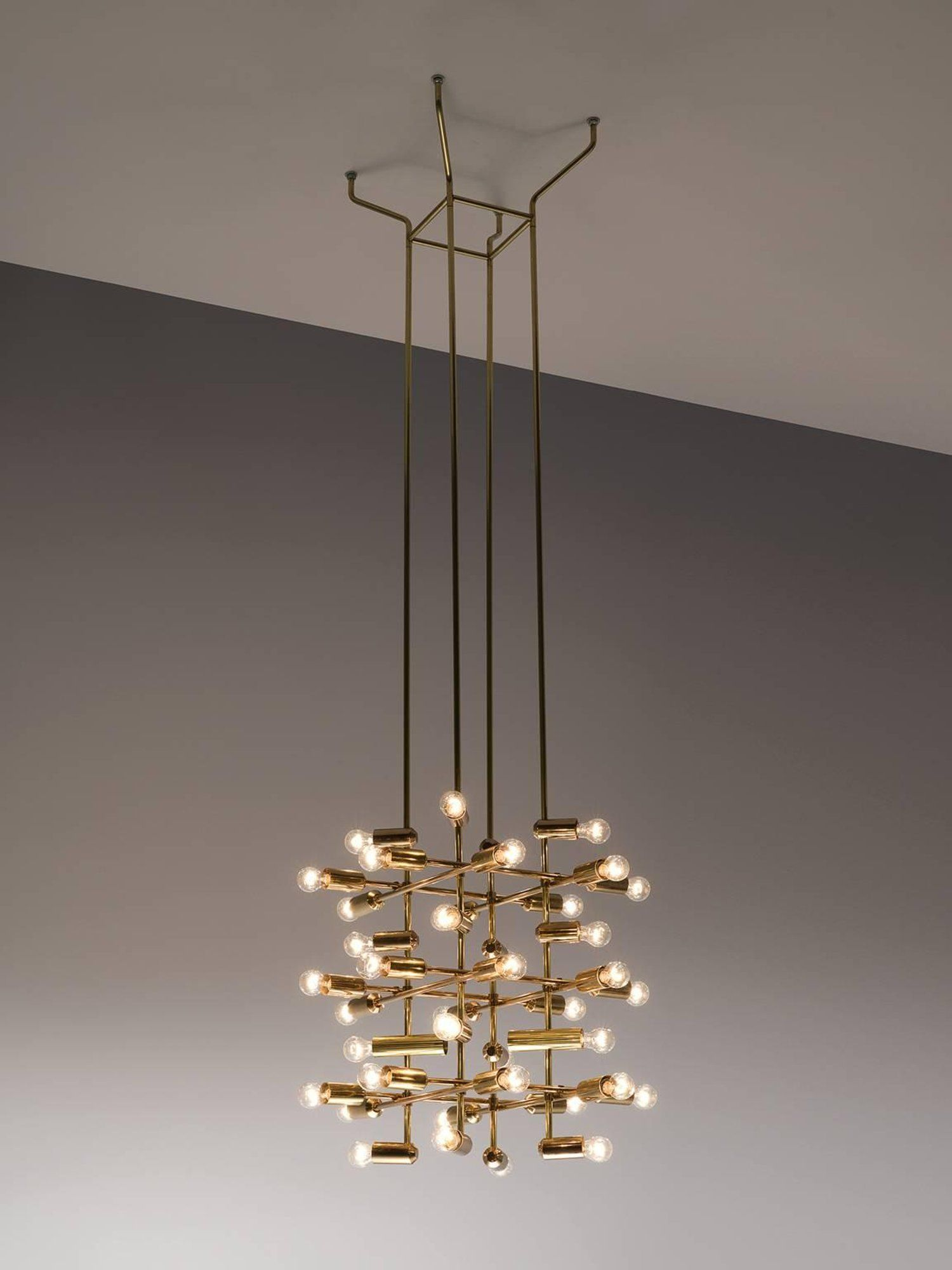 Set of large brass chandeliers with forty bulbs brass