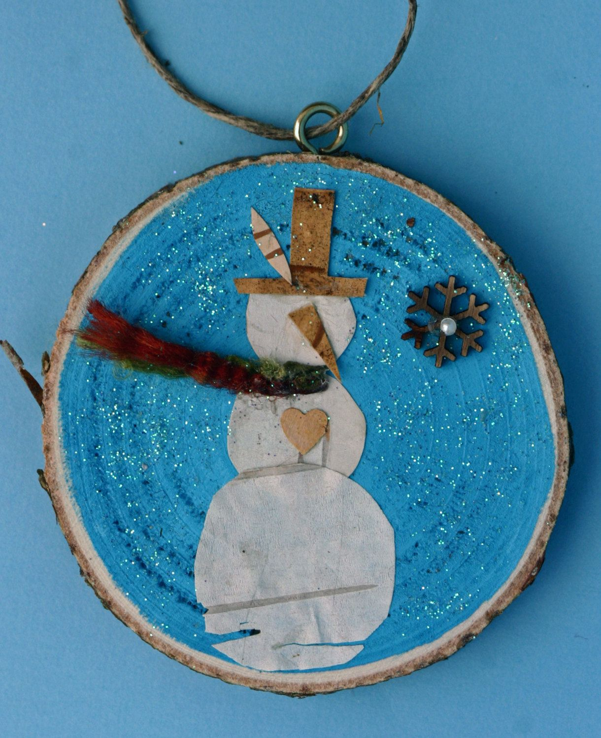 Birch Tree Bark Snowman Wood Slice Christmas Ornament Natural Small Round Art Blue And White Turquoise Winter Glitter