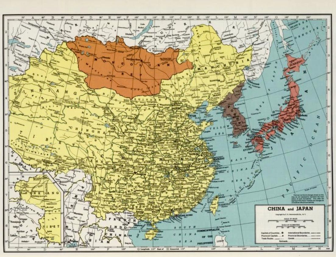 US Map China And Japan Japan Antique Vintage And Art - World map us and japan