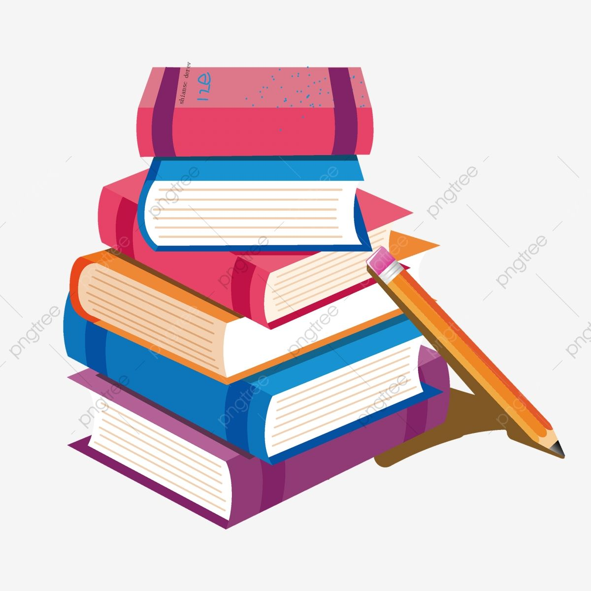Hand Drawn Cartoon A Pile Of Books And Pencil Element Book Clipart Cartoon A Pile Of Books Png And Vector With Transparent Background For Free Download How To Draw Hands Best