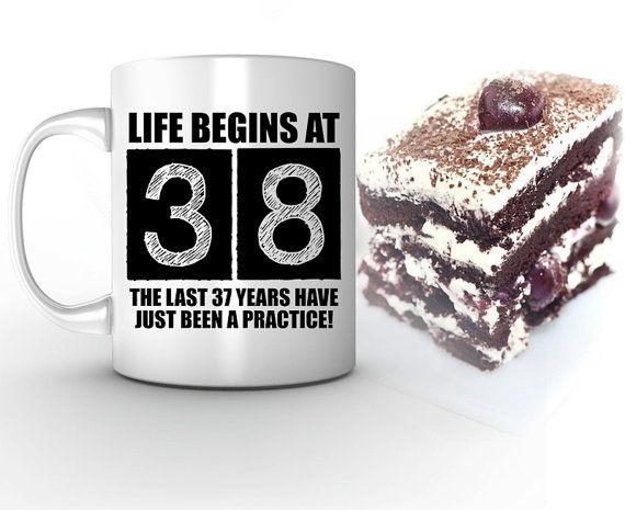 23rd Anniversary Gifts For Men: 38th Birthday Mug, Life Begins At 38, 38th Birthday, 38