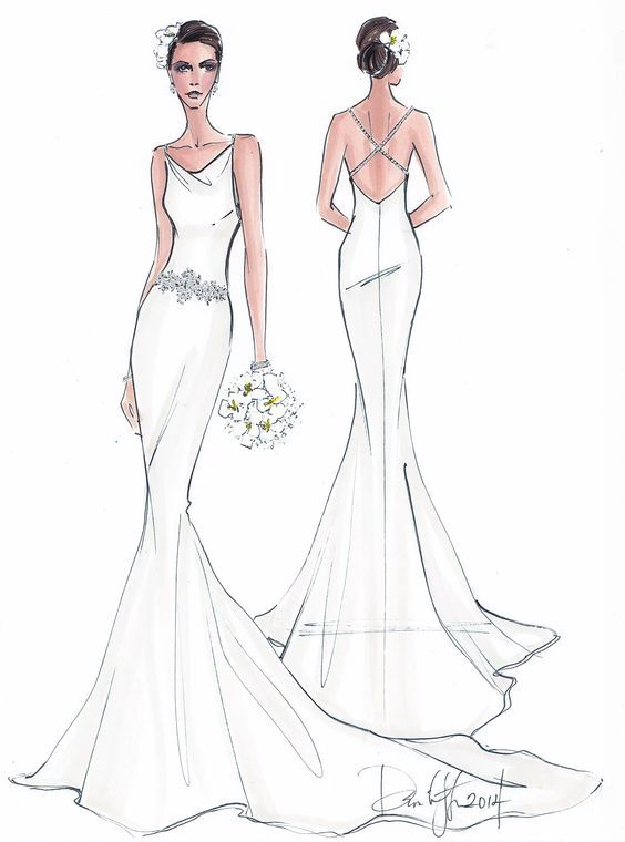 Illustrative Moments Custom Bridal Gown Illustration Wedding