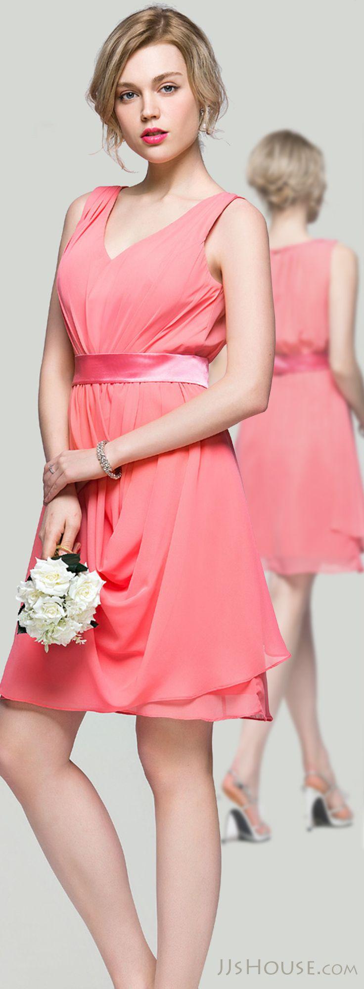 A-Line/Princess V-neck Knee-Length Chiffon Bridesmaid Dress With ...