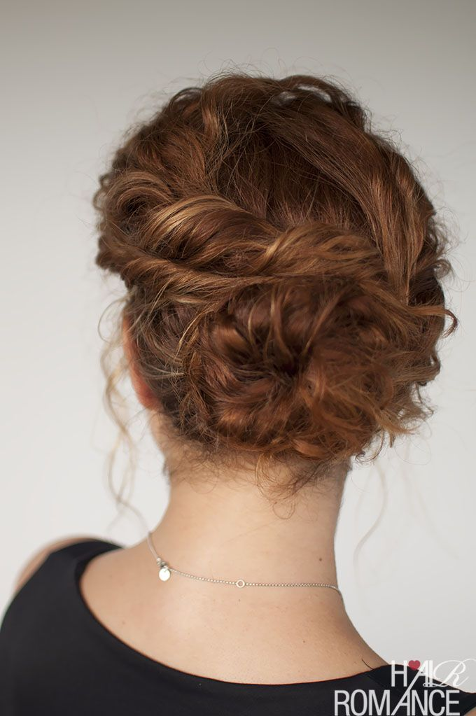 Curly Hair Tutorial Easy Twisted Bun Hairstyle Hair Romance Hair Twist Bun Curly Hair Styles Hair Romance
