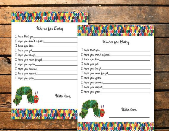 bring a book instead of a card insert, the very hungry caterpillar, Baby shower invitations