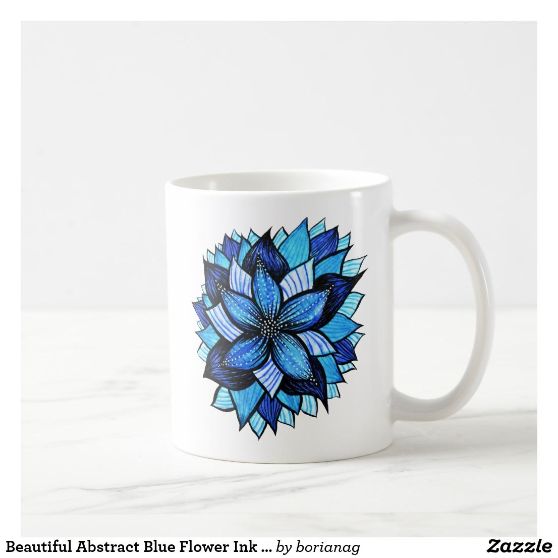 Beautiful abstract blue flower ink drawing coffee mug in 2018 beautiful abstract blue flower ink drawing mug at zazzle izmirmasajfo