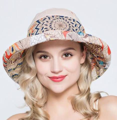 a62d4bcc481 Crimping bucket hat for women bow decoration geometric UV summer sun  protection hats