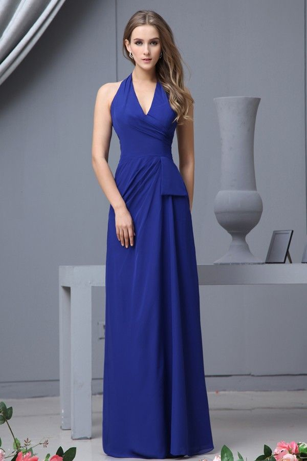 Noblest Slim Fit Royal Blue Chiffon Bridesmaid Dress with Halter ...