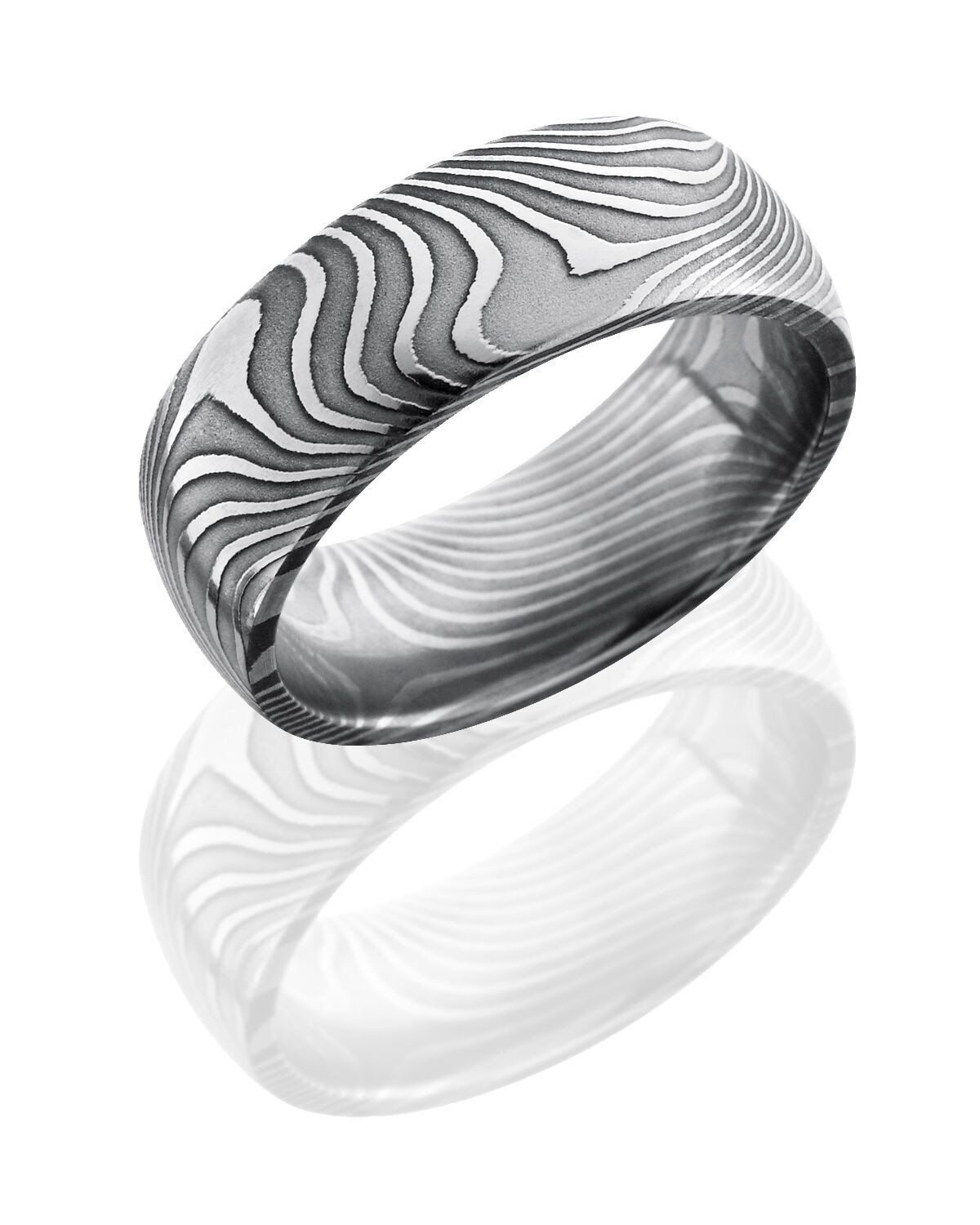 Damascus Steel Domed Band Ring with Flat Twist Pattern   Damascus ...