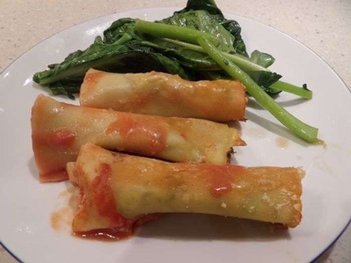 cannelloni using lasagna sheets, with ricotta, spinach and gai,lan