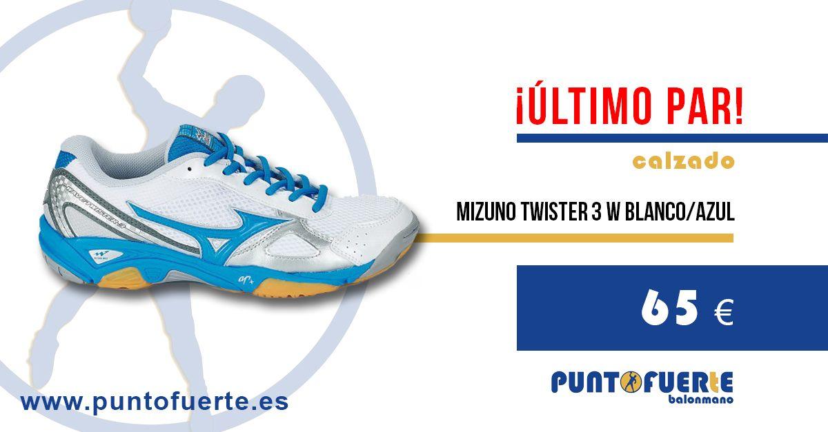 #Zapatillas #Mizuno #Twister  3 Women (blanco y azul). ¡Último par en stock! ¿Quién se las llevará? ¡Puedes ser tú! ¡Corre! Entra ya en www.puntofuerte.es